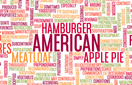 gastronomy: American Food and Cuisine Menu Background with Local Dishes Stock Photo