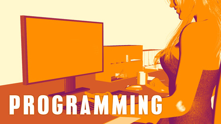 studying computer: Programming Concept Course with Woman Looking at Computer Stock Photo