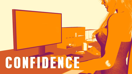 learning new skills: Confidence Concept Course with Woman Looking at Computer