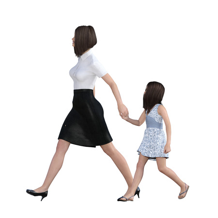 Mother Daughter Interaction of Girl Holding Mom Hand as an Illustration Concept