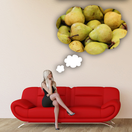unhealthy thoughts: Woman Craving Pears and Thinking About Eating Food Stock Photo
