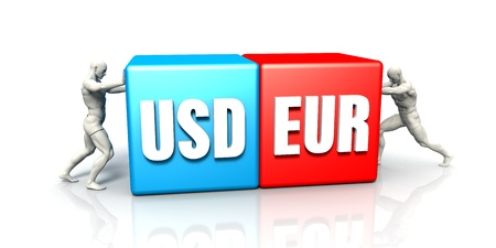 eur: EUR USD Currency Pair Fighting in Blue Red and White Background Stock Photo