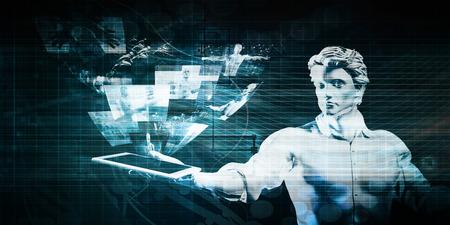 Technologie Presentatie met Hologram projectie op Tablet Stockfoto