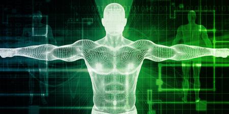Healthcare Technology mit einem menschlichen Körper-Scan-Konzept