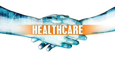 affiliation: Healthcare Concept with Businessmen Handshake on White Background