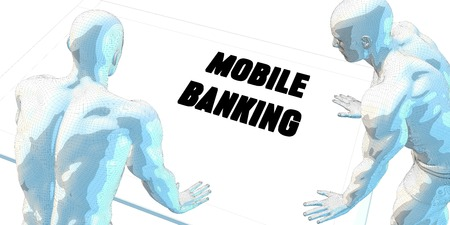 mobile banking: Mobile Banking Discussion and Business Meeting Concept Art Stock Photo