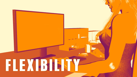 flexible business: Flexibility Concept Course with Woman Looking at Computer Stock Photo