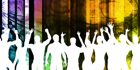 gente loca: Party Background with a Crowd Cheering Silhouette Abstract