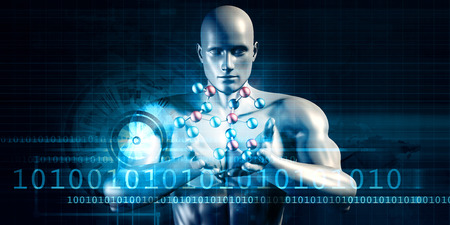 Scientist Performing Research and Experimenting with Science Molecule Stock Photo