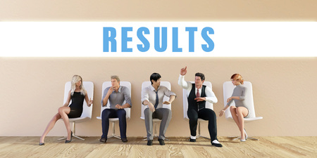 briefing: Business Results Being Discussed in a Group Meeting Stock Photo