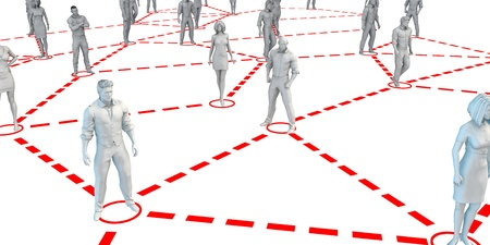 nodes: Large Group of People in Nodes Connected by Network Lines