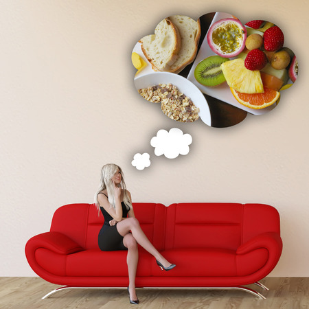 cravings: Woman Craving Breakfast and Thinking About Eating Food