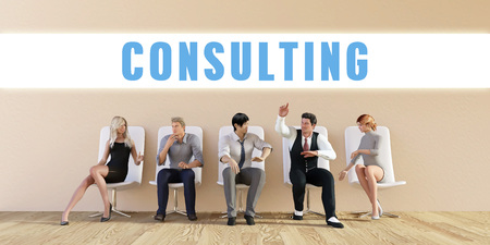 discussed: Business Consulting Being Discussed in a Group Meeting Stock Photo