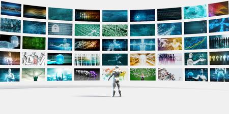 Man wijzend op een videomuur Gevuld met Screens