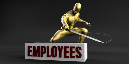 slash: Reduce Employees and Minimize Business Concept Stock Photo