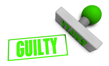 chop: Guilty Stamp or Chop on Paper Concept in 3d Stock Photo