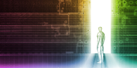 web portal: Man Standing In Front of Technology Portal as Background