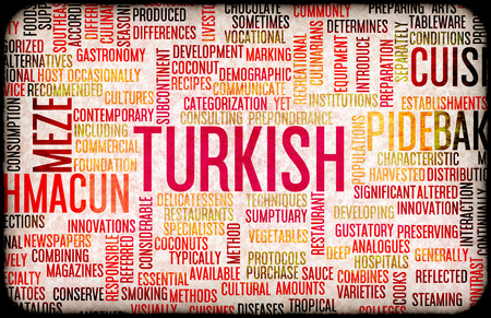 main dishes: Turkish Food and Cuisine Menu Background with Local Dishes Stock Photo