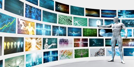 Video Wall op witte achtergrond met de Mens Zappen Stockfoto - 63997288