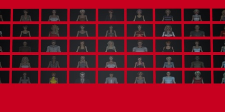 video wall: Video Wall of People on Screens in 3d Stock Photo