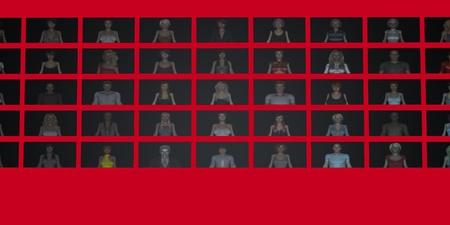 Video Wall of People on Screens in 3d Reklamní fotografie - 63997266