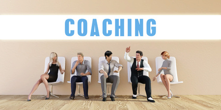 discussed: Business Coaching Being Discussed in a Group Meeting Stock Photo