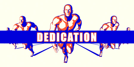 dedicate: Dedication as a Competition Concept Illustration Art Stock Photo