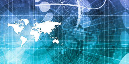 communications: Global Communications and Financial Data Sharing Concept