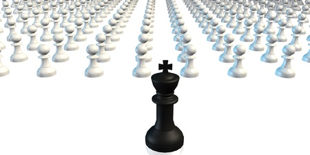 business game: Leadership King Leading Pawns Chess Business Concept