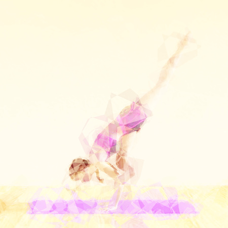 Pilates Concept Illustration with Abstract Exercise Woman
