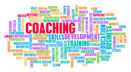 Coaching Word Cloud Concept on White