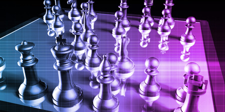 Business Tactics and Chess Game Analysis Concept Art Stock Photo