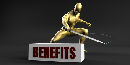 slash: Reduce Benefits and Minimize Business Concept Stock Photo