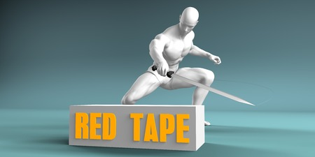Cutting Red Tape and Cut or Reduce Concept Stock Photo