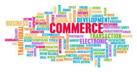 Commerce Word Cloud Concept on White