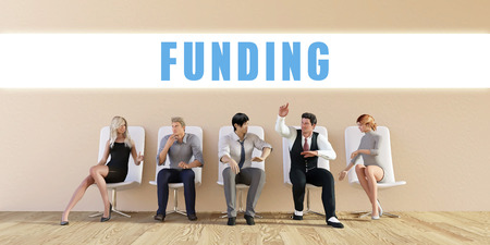 discussed: Business Funding Being Discussed in a Group Meeting Stock Photo