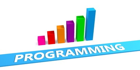 optimizing: Great Programming Concept with Good Chart Showing Progress Stock Photo