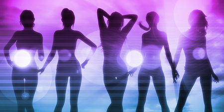 Ladies at the Beach with Silhouette as a Background