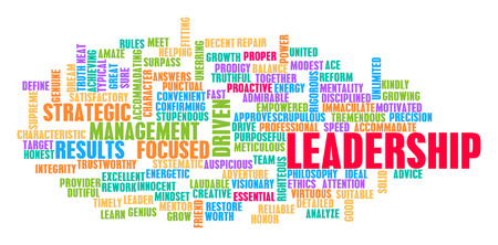 Leadership Word Cloud Concept on White Imagens