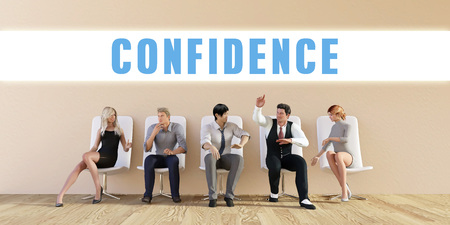 business confidence: Business Confidence Being Discussed in a Group Meeting Stock Photo