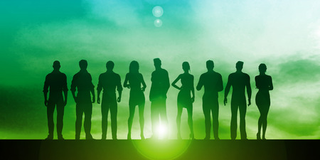 Confident Businessmen and Businesswomen Standing in Unity