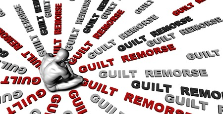 remorse: Suffering From Guilt  remorse with a Victim Crying Male