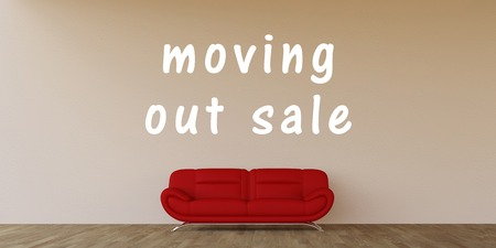 house clearance: Moving Out Sale Concept with Home Interior Art