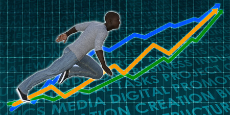 Successful Business with Black Man and Graph Background Stock Photo