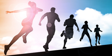 athletes: Athletes Running During Sunset with Silhouette Illustration Stock Photo