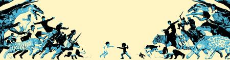 Epic Battle Between Children and Imaginary Friends Reklamní fotografie