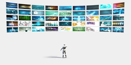 mucha gente: Entretenimiento Fondo con la pared de vídeos y pantallas o televisores