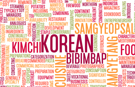korea food: Korean Food and Cuisine Menu Background with Local Dishes