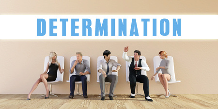 discussed: Business Determination Being Discussed in a Group Meeting Stock Photo
