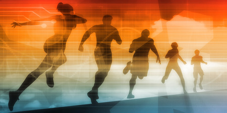 Sports Background Illustration Concept with Running People Zdjęcie Seryjne - 64805922